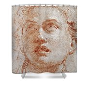 Head Of A Man Looking Up Shower Curtain