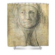 Head Of A Woman Shower Curtain by Michelangelo Buonarroti