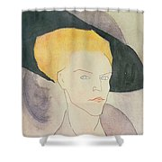 Head Of A Woman Wearing A Hat Shower Curtain