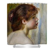 Head Of A Young Woman Shower Curtain by Pierre Auguste Renoir