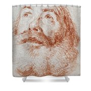 Head Of An Old Man Looking Up Shower Curtain