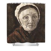 Head Of An Old Woman In A Scheveninger Shower Curtain