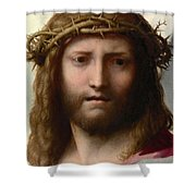 Head Of Christ Shower Curtain by Correggio