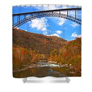 Heading Toward The New River Rapids Shower Curtain