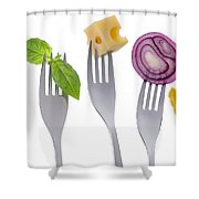 Healthy Balanced Food On White Shower Curtain