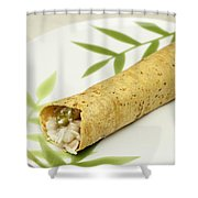 Healthy Burrito On A Plate Shower Curtain