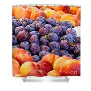 Heap Of Fresh Organic Peaches And Damson Plums  Shower Curtain