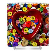 Heart Bowl With Buttons Shower Curtain