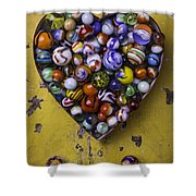 Heart Box Full Of Marbles Shower Curtain