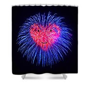 Heart Fireworks Face Shower Curtain