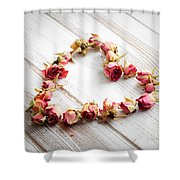 Heart From Dry Rose Buds Shower Curtain