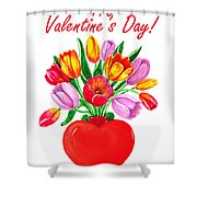 Heart Full Of Tulips Valentine Bouquet  Shower Curtain