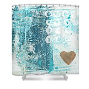 Heart In The Sand- Abstract Art Shower Curtain