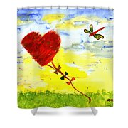 Heart Kite Shower Curtain