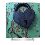 Heart Lock And Key Shower Curtain