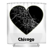 Heart Map Chicago Shower Curtain