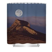 Heart Mountain And Full Moon-signed-#0325 Shower Curtain