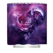 Heart Of A Rose - Burgundy Purple Shower Curtain