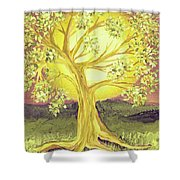 Heart Of Gold Tree By Jrr Shower Curtain
