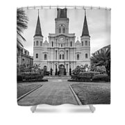 Heart Of The French Quarter Monochrome Shower Curtain