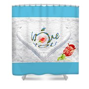Heart On Snow With Rose Shower Curtain