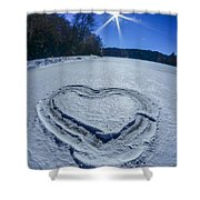 Heart Outlined On Snow On Topw Of Frozen Lake Shower Curtain