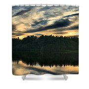 Heart Pond Sunset Shower Curtain