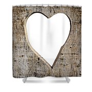 Heart Shape Carved Into A Plank Shower Curtain
