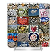 Heart Shape Collage  Shower Curtain