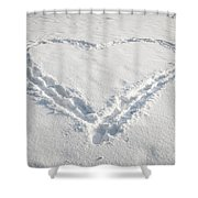 Heart Shape In Snow Shower Curtain