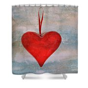 Heart Shape Textured Shower Curtain