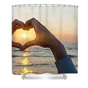 Heart Shaped Hands Framing Ocean Sunset Shower Curtain