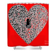 Heart Shaped Lock - Red Shower Curtain