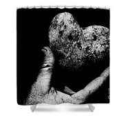 Heart Shaped Rock Shower Curtain