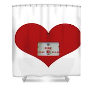 Heart Symbol With Emergency Button Shower Curtain