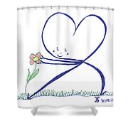 Heart Touches Flower Lovingly Shower Curtain