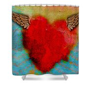 Heart Wings Shower Curtain