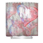 Hearts 15 Square Shower Curtain