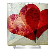 Hearts 5 Square Shower Curtain