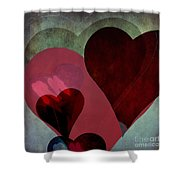 Hearts 9 Square Shower Curtain
