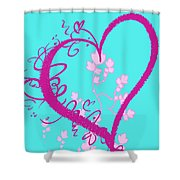 Hearts And Vines Shower Curtain