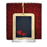 Hearts In Slate Shower Curtain