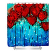 Hearts On Fire - Romantic Art By Sharon Cummings Shower Curtain