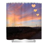 Hearts Sunset Shower Curtain by Augusta Stylianou