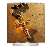 Heavenly Light Rosary  Shower Curtain