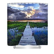 Heavenly Harbor Shower Curtain by Debra and Dave Vanderlaan