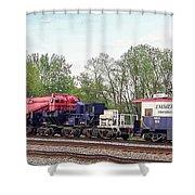 Heavy Lift 1m Pound Capacity Schnabel Train Set By Emmert International Shower Curtain