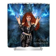 Heavy Metal Fashion. Sofia Metal Queen. Blue Fire Storm. The Power Shower Curtain