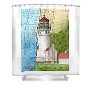 Heceta Head Lighthouse Or Nautical Chart Map Art Cathy Peek Shower Curtain