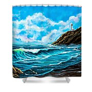 Heceta Head Lighthouse Oregon Coast Original Painting Forsale Shower Curtain